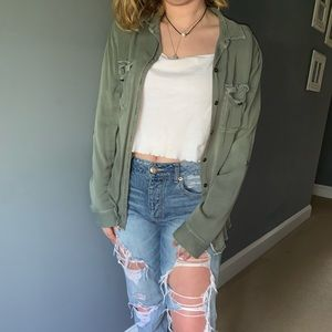 American Eagle Green Cardigan